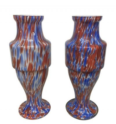 Set of Two Mid-Century Modern Red & Blue Opaline Vases by Carlo Moretti