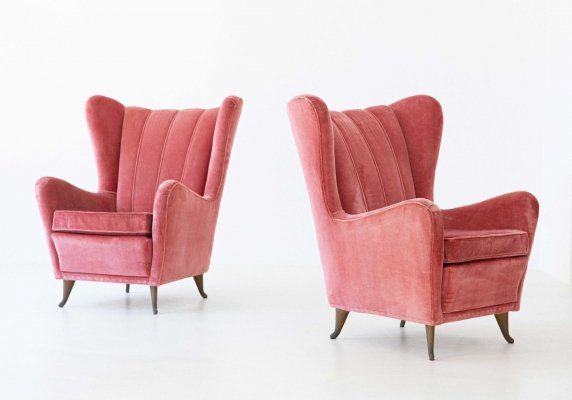 1950s Italian Velvet Lounge Chairs by I.S.A. Bergamo