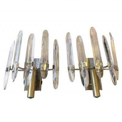 Sciolari Mid-Century Modern Brass & Glass Italian Turnable Wall Sconces, 1960s