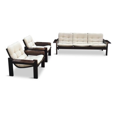 Mid-Century Swedish Oak Sofa & 2 Lounge Chairs by Yngve Ekström for Swedese