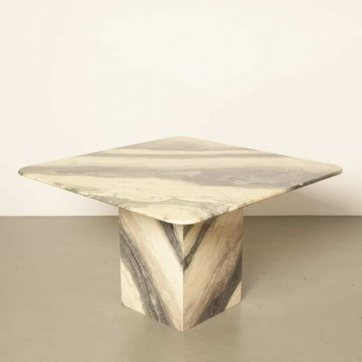 Square striped Marble Table, 1980s