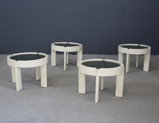 Set of 4 side tables in wood & smoked glass, 1950s