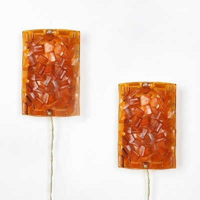 Set of 2 amber colored glass wall lights from Vitrika, 1960's