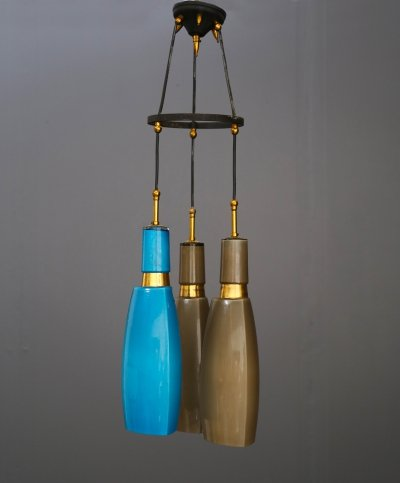 60's pendant by Vistosi in coloured opaline glass