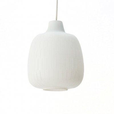Frosted Glass Pendant Lamp with Fine Structure, 1950s