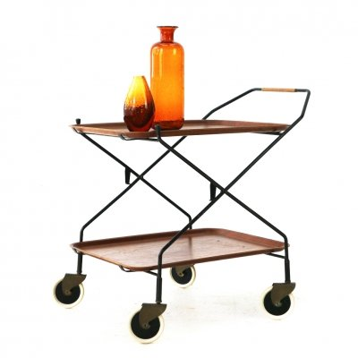 Mid-Century Modern Serving Cart with Teak Trays, 1950s