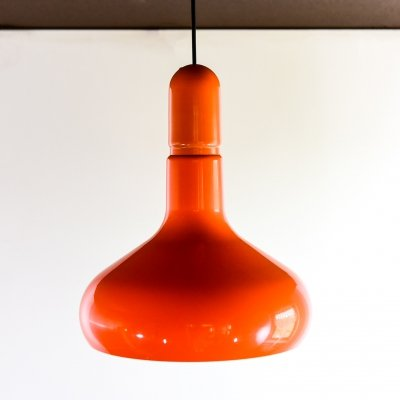 Orange plastic & metal hanging lamp by Guzzini, 1970s