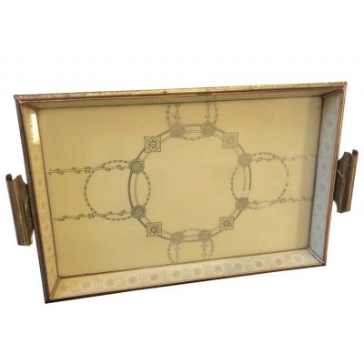 Mid-Century Modern Copper & Brass Italian Serving Tray, circa 1950