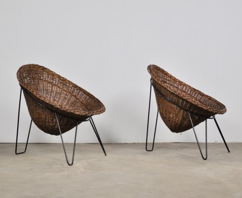 Set of two French wicker chairs, 1950s
