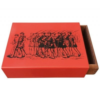 Piero Fornasetti Mid-Century Modern Metal & Wood Card Box, circa 1960
