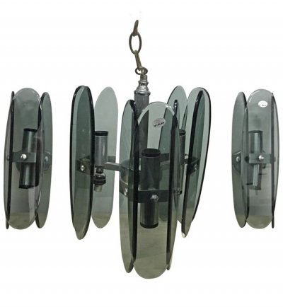 Space Age Heavy Grey Glass Chandelier & Wall Sconces by FAB, circa 1970
