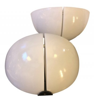 Set of Two Space Age White Wall Sconces by Danilo Aroldi & Corrado Aroldi for Stilnovo, circa 1970