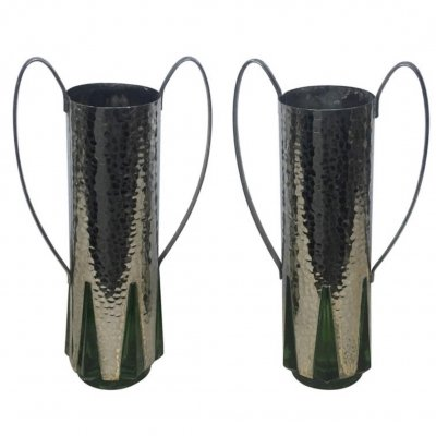 Art Deco Pair of Silver Plate & Green Glass English Vases, circa 1930