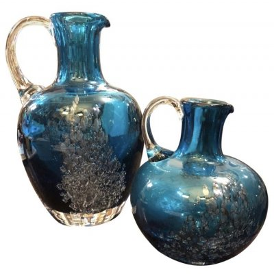 Set of Two Vintage Blue Glass Jugs by Mdina Glass, circa 1980