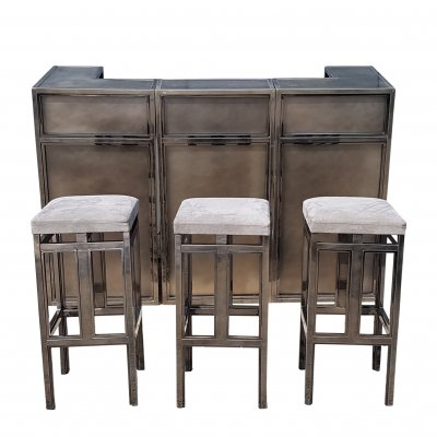 Vintage brass & copper bar with stools by Maison Jansen, 1970s