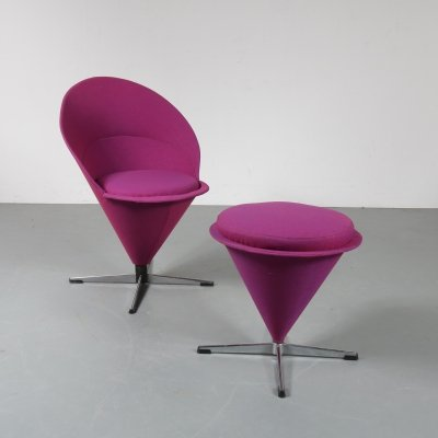 Cone chair with stool by Verner Panton for Plus Linje, Denmark 1960s