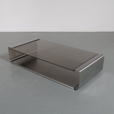 Stainless steel coffee table by François Monnet for Kappa, France 1970s