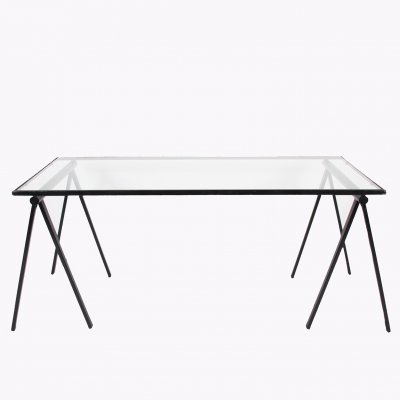 Glass Trestle Table, 1960s