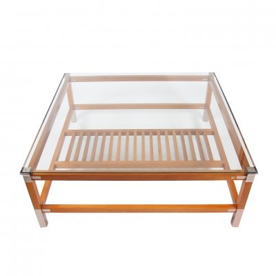 Large Square Hardwood & Steel Coffee Table by Pierre Vandel