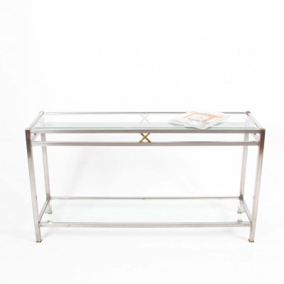 Brushed Steel & Brass Console Table