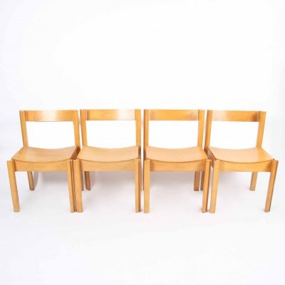Set of Four Modernist Bent Ply & Beech Chairs