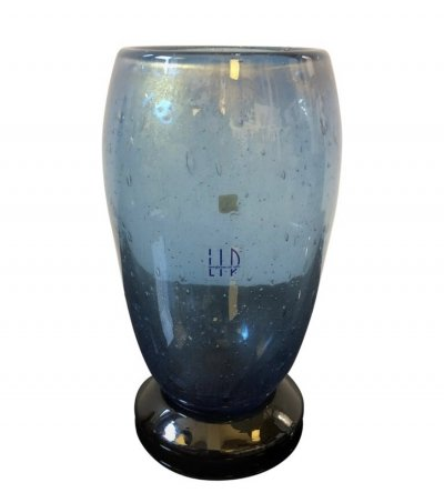 Marcello Furlan for L.I.P. Vintage Black & Blue Murano Glass Vase, 1970