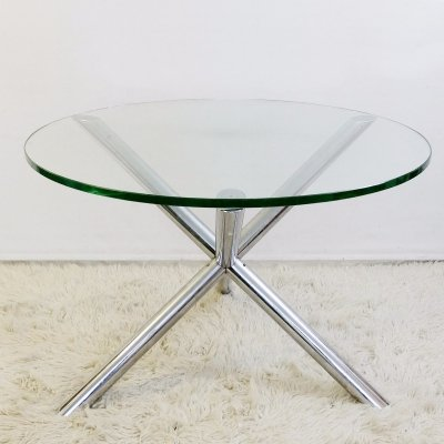Dining Table In Chrome And Glass by Roche Bobois, 1970s