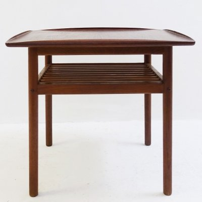 Scandinavian Low Table In Teak With Slightly Raised Edges