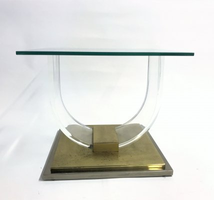 Lucite & brass arch coffee table by Belgo Chrom, 1970s