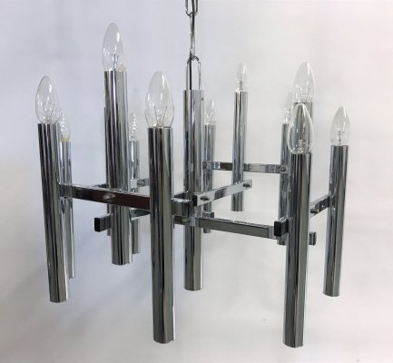 Vintage chrome 10 lightpoint chandelier by Gaetano Sciolari, 1970s
