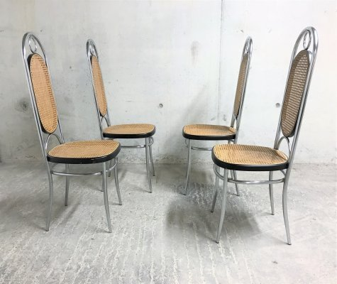 Set of 4 Thonet no. 17 chrome dining chairs, 1970s