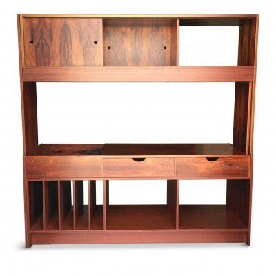 Vintage Swedish Jacaranda Veneered Wood Media Console, 1970s