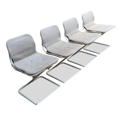 4 Mid-Century Swedish White Metal Stackable Chairs by Ruud Ekstrand & Christer Norman from DUX, 1968