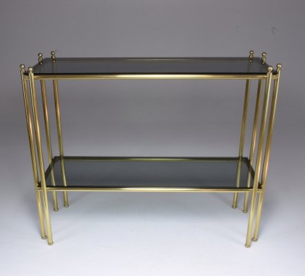 20th Century French Brass Glass Console Table, 1970s