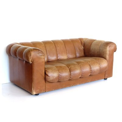 High quality vintage leather two seater sofa
