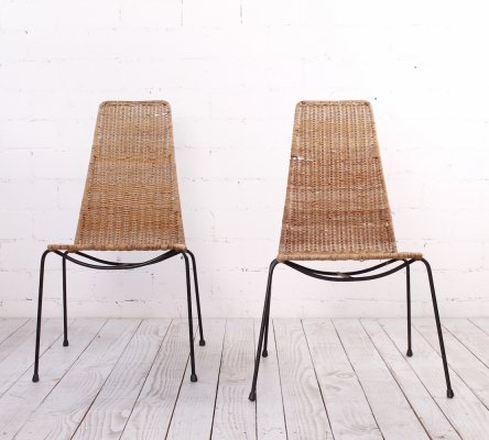 Set of 2 Vintage Rattan Side Chairs from the 1960s