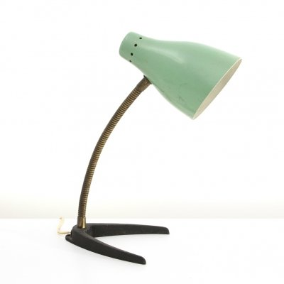 Midcentury brass & colored shade Italian table lamp, 1950s