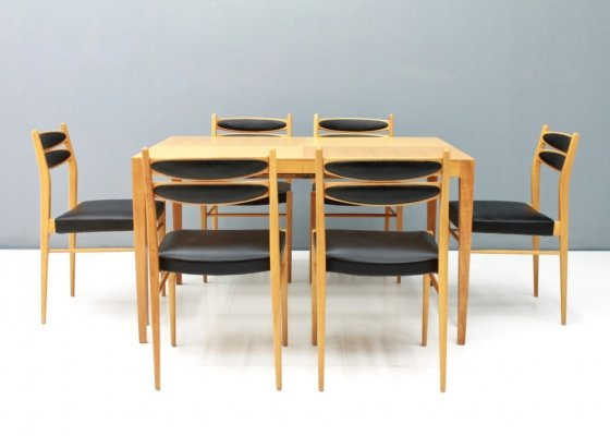 Dining Room set in Cherry Wood & Black Leather, 1957