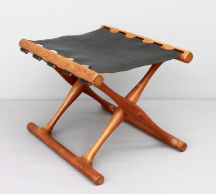 Poul Hundevad Folding Stool in Teak & Leather