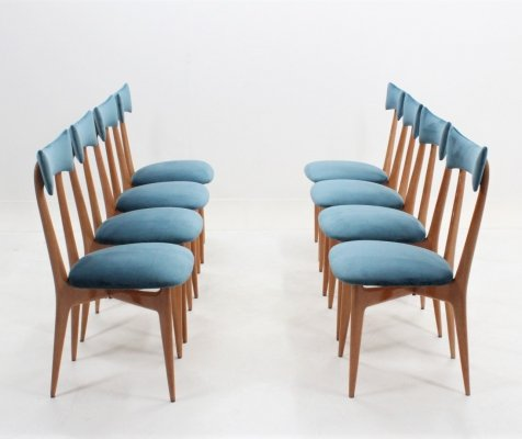 Rare set of 8 mid century Ico Parisi blonde maple dining chairs, 1950s