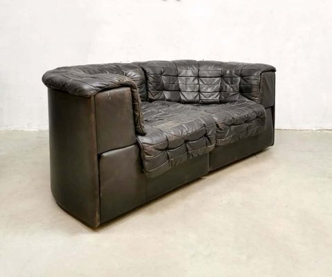 Vintage modular patchwork leather DS 11 De Sede sofa