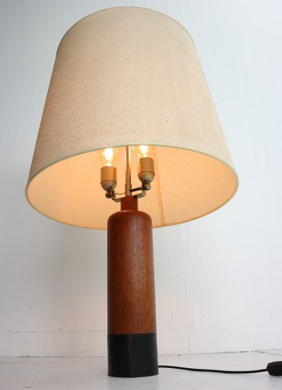 Vintage Danish Solid Teak & Leather Table Lamp from ESA, 1960s