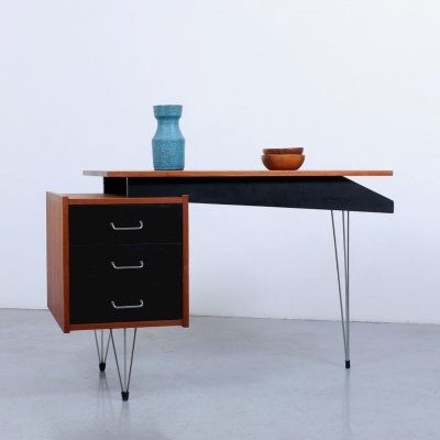 Black & teak small hairpin writing desk by Tijsseling, 1950s
