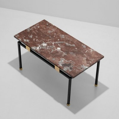 Decorative 50s brass & black metal base coffee table with a red/brown marble