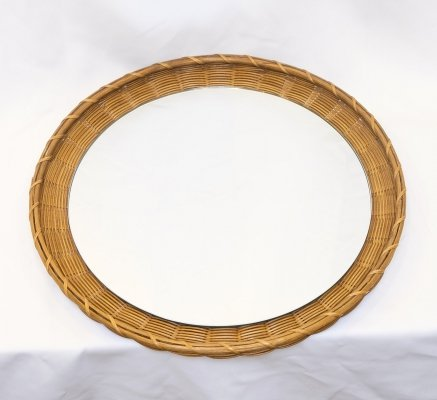 Rattan framed mirror from the 50s