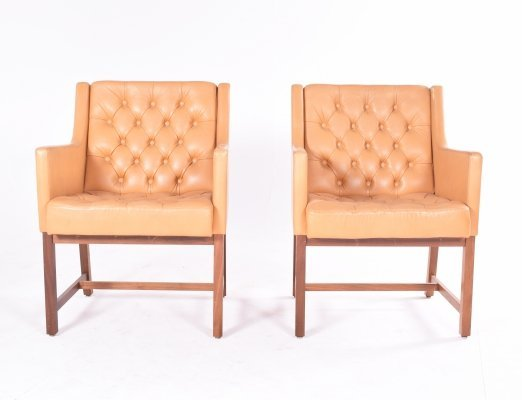 Pair of Midcentury Leather & Teak Armchairs by Karl-Erik Ekselius for JOC Mobler