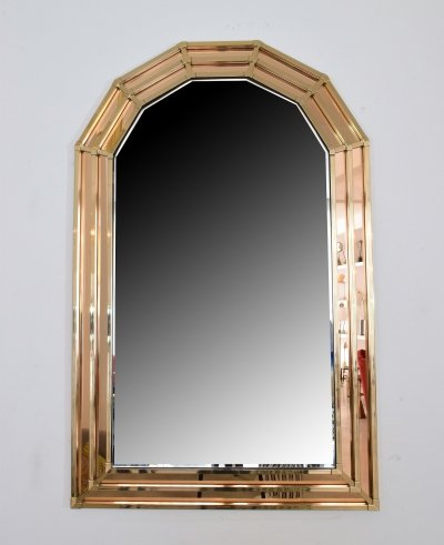 20th Century Vintage Octagon Brass Mirror, 1970's