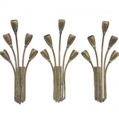 Set of Three Mid-Century Modern Italian Brass Wall Sconces, 1950