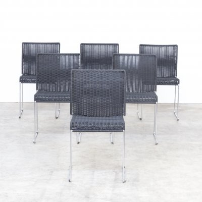 Set of 6 Mid century black papercord dining chairs, 1960s
