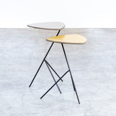 Pair of Mathieu Mategot triangle side tables for Artimeta, 1940s